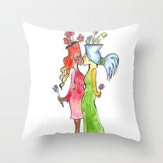 lesbian flower women kiss Throw Pillow