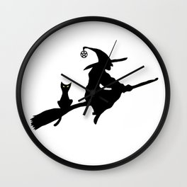Witch and Cat on Broom Wall Clock
