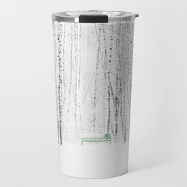Green bench in white winter forest Travel Mug