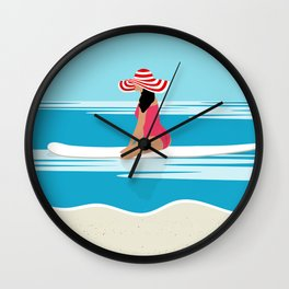 Solo surfing woman Wall Clock