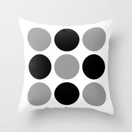 Mid Century Modern Polka Dot Pattern 9 Black and Gray Throw Pillow