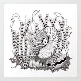Zentangle Nautilus in the Ocean Illustration Art Print