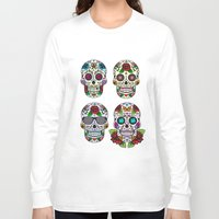 sugar skulls Long Sleeve T-shirts featuring Sugar skulls by very giorgious