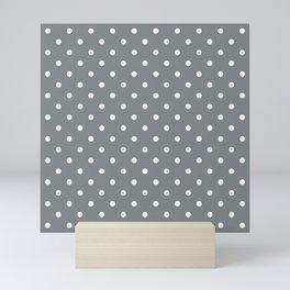 Smoke Grey with White Polka Dots Mini Art Print