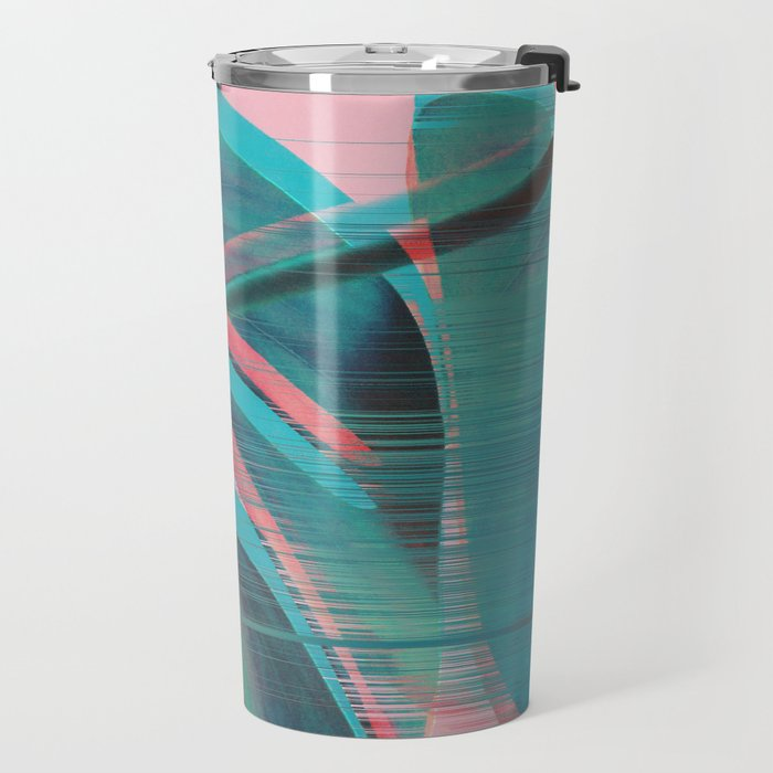 Glitch Monstera Theme Travel Mug
