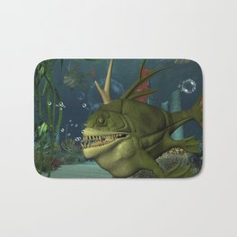 Awesome fish in the deep ocean Bath Mat