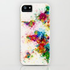 Map of the World Map Paint Splashes iPhone (5, 5s) Slim Case