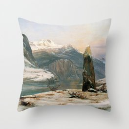 12,000pixel-500dpi - Johan Christian Dahl - Winter At The Sognefjord - Digital Remastered Edition Throw Pillow