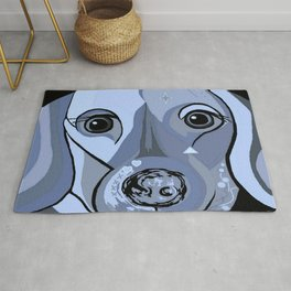 Dachshund in Blue Rug