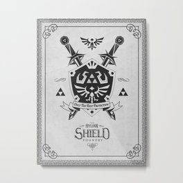 Legend of Zelda Hylian Shield Foundry logo Iconic Geek Line Artly Metal Print