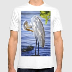 Great Egret Grooming Mens Fitted Tee MEDIUM White