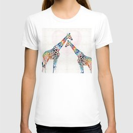 Colorful Giraffe Art - I've Got Your Back - By Sharon Cummings T-shirt