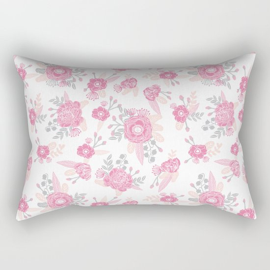 Pink pastel florals cute nursery baby girl decor floral botanical bouquet blooms Rectangular Pillow