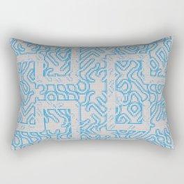 Blue Needlepoint Maze Rectangular Pillow