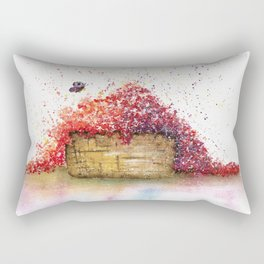 A Basket of Flowers Watercolor Rectangular Pillow