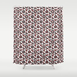 Frilly from the Black & White & Red All Over Collection Shower Curtain