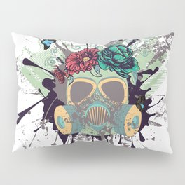 Green Gas Mask with Roses Pillow Sham