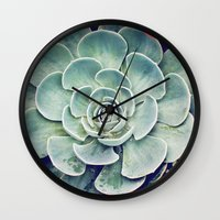 succulent Wall Clocks featuring Succulent by Holli Dunn Photography