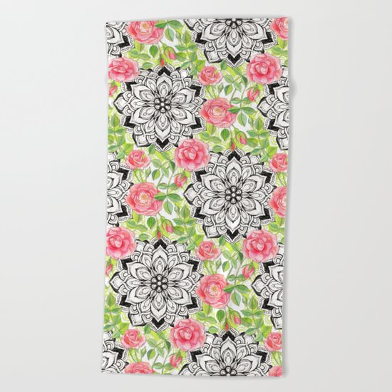 Peach Pink Roses and Mandalas on Lime Green and White Beach Towel
