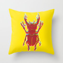 Stag Beetle Tricolore lino cut on yellow background Throw Pillow