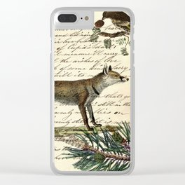 western country fairy rustic woodland nursery winter pine forest animal fox Clear iPhone Case