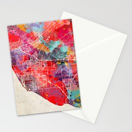 Oxnard map California painting 2 Stationery Cards