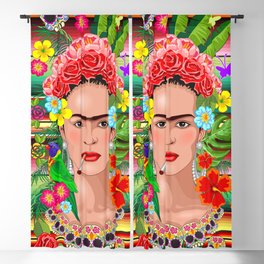 Frida Kahlo Floral Exotic Portrait Blackout Curtain