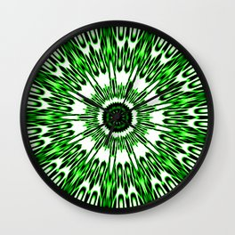 Green White Black Explosion Wall Clock