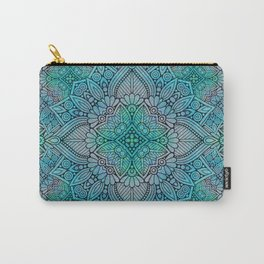 Turquoise Flower Mandala Carry-All Pouch