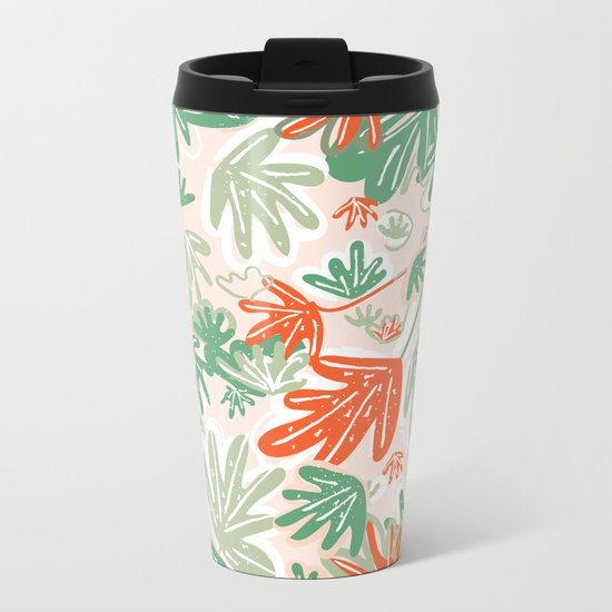 Tropical Abstract Pattern Metal Travel Mug