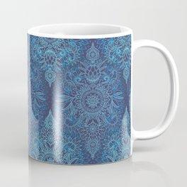 Aqua, Cobalt Blue & Purple Protea Doodle Pattern Coffee Mug
