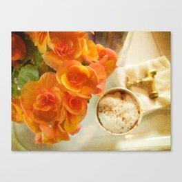 Coffee & flowers Canvas Print