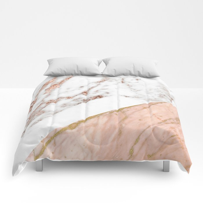 Marble Rose Gold Blended Comforters By Marbleco Society6