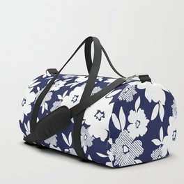 Monochromatic Blue and White Florals Duffle Bag