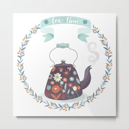 Tea Time Floral Tea Kettle Metal Print