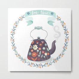 Tea Time Floral Tea Kettle Metal Print