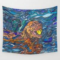 best friend Wall Tapestries featuring Man's Best Friend by Juliana Kroscen