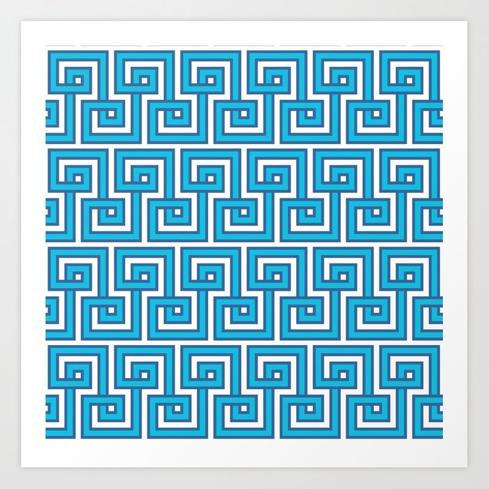 Greek Key - Turquoise Art Print