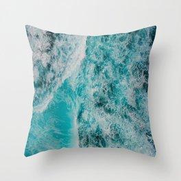 Blue Ocean Waves Crashing Throw Pillow