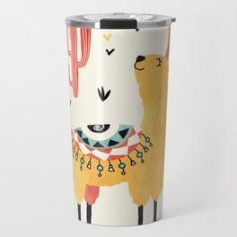 Yellow Llama Red Cacti Travel Mug