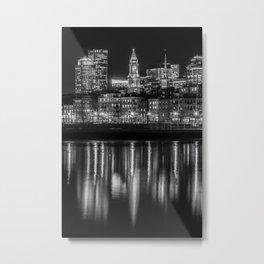 BOSTON Evening Skyline of North End & Financial District | Monochrome Metal Print