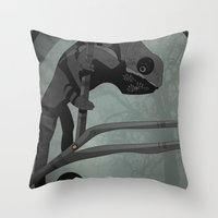 chameleon Throw Pillows featuring Chameleon by Andrew Formosa
