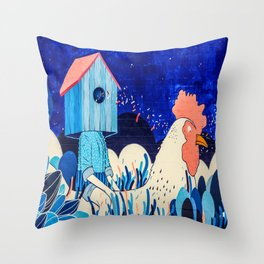 Chicken Rider Throw Pillow