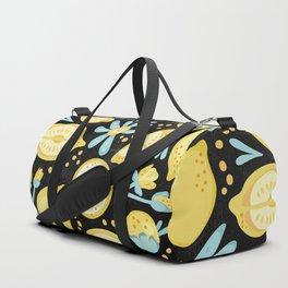 Lemon Pattern Black Duffle Bag