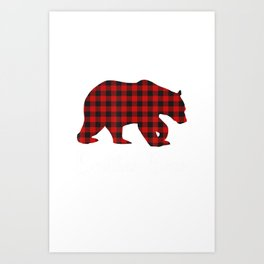 Red Plaid Bear Christmas Pajama Brother Matching Family T-Shirt Art Print