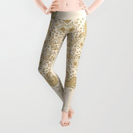 Ivory and Gold Peacock Mandala Leggings
