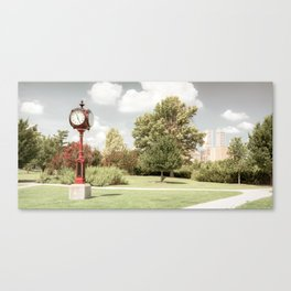 Red Centennial Park Clock and Tulsa Skyline Panorama - Aged Canvas Print
