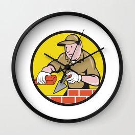 Bricklayer Bricks Trowel Circle Cartoon Wall Clock