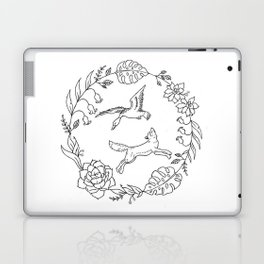 Fox and Loon Playing in Floral Wreath Design — Floral Wreath with Animals Illustration Laptop & iPad Skin
