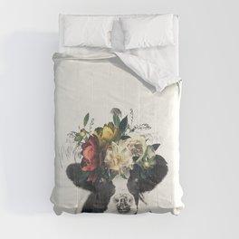 vintage floral cow Comforters